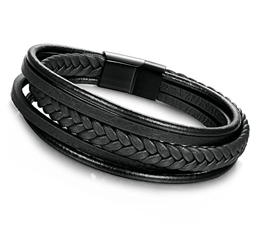 Jstyle Braided Leather Bracelet for Men Bangle Wrap Stainless Steel Magnetic-Clasp 7.5-8.5 Inch Jstyle
