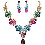 BriLove Wedding Bridal Necklace Earrings Jewelry Set for Women Crystal Teardrop Filigree Leaf Twig Enamel Statement Necklace Dangle Earrings Set Colorful Multicolor Gold-Toned