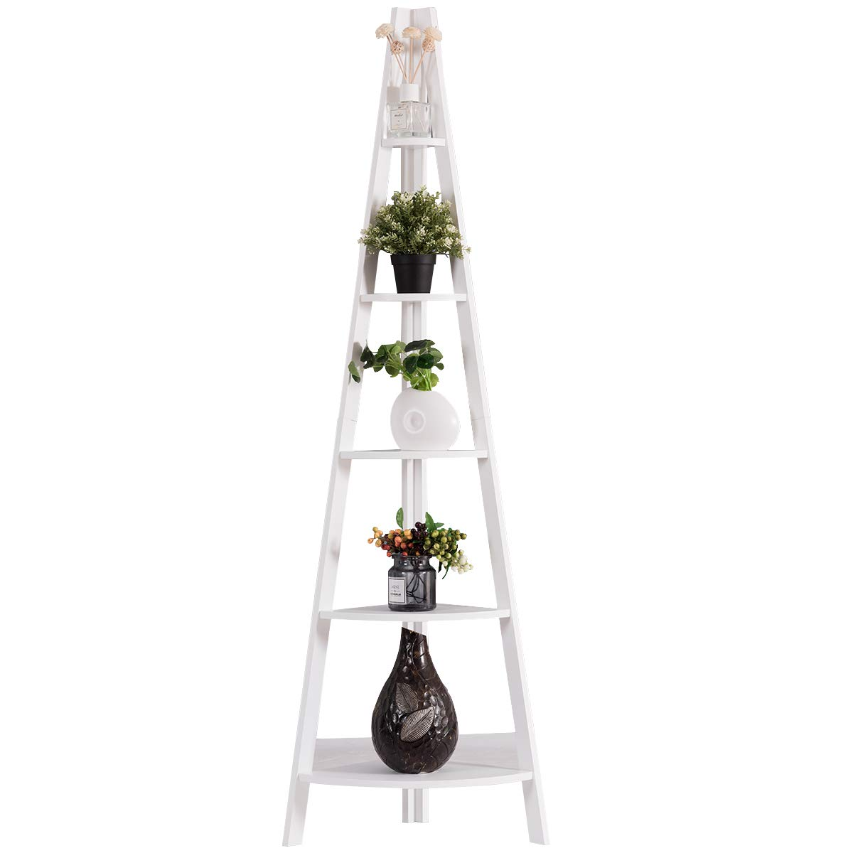 Tangkula 5-Tier Corner Ladder Shelf, Wooden Contemporary Rustic Style Bookshelf, A-Shaped Durable Frame Plant Stand, Storage Rack, Bookcase for Display, Storage in Home Office Living Room Bedroom by Tangkula