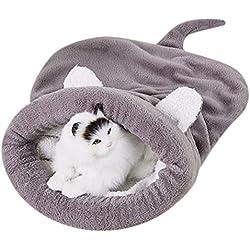 DZT1968 Kitten Cat Bed Pet Puppy Warm Cave Soft Dog House Sleeping Bag Mat Fleece Pad-Doghouse (Grey, L)