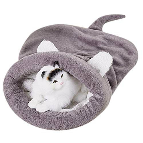 Kitten Cat Bed Pet Puppy Warm Cave Soft Dog House -VovomaySleeping Bag Mat Fleece Pad (Grey, L)