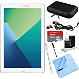 Samsung Galaxy Tab A 10.1 Tablet PC White w/ S Pen 32GB Bundle includes Tablet, 32GB MicroSD Card, Microfiber Cloth, Cleaning Kit, Stylus Pen with Clip, Hard EVA Case with Zipper for Tablets
