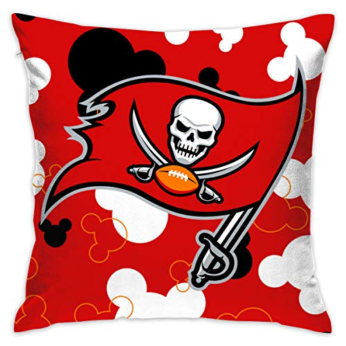 Jerrymoaus Tampa Bay Buccaneers Cartoon Mouse, Zipper Pillowcase, Sofa Pillowcase, Office Pillowcase (17.7