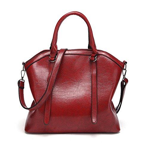 Shoulder Large Portable Women's Elegant Red Messenger Wax Bag Bag Capacity Leather Oil Vintage Handbag Sq1qE