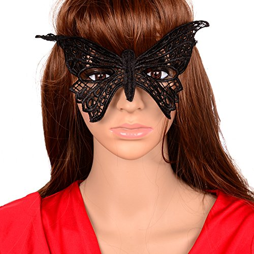 [Yazilind Lolita Gothic Butterfly Black Lace Half Mask for Fancy Masquerade Ball Women] (Carnival Mask Costume)