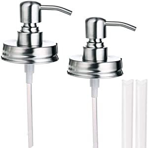 Mason Jar Soap Dispenser Lid and Pump Replacement Brushed Stainless Steel Rust-Proof Leak-Proof for Regular Mouth Size Lid or Modern Farmhouse Soap Pumps for The Kitchen and Bathroom Silver 2 Pack