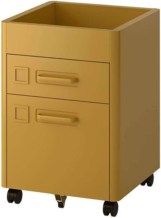 IKEA ASIA IDASEN - Cajonera con Ruedas, Color Dorado y marrón ...