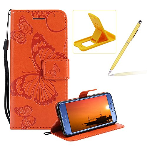Herzzer Strap Leather Case for Huawei P10 Lite,Wallet Leather Case for Huawei P10 Lite, Premium Stylish Pretty 3D Orange Butterfly Printed Bookstyle Magnetic Soft Rubber Flip Stand ()