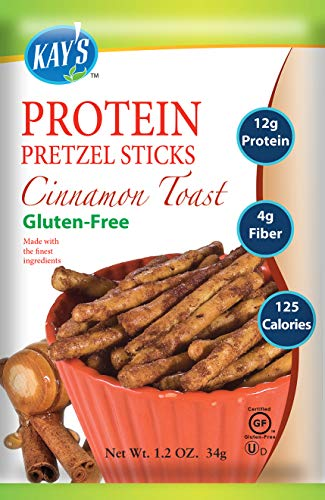 Kay's Naturals Protein Pretzel Sticks, Cinnamon Toast, Gluten-Free, Low Carbs, Low Fat, All Natural Flavorings, 1.2 Ounce (Pack of 60)