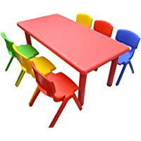 1.2M Kid's Adjustable Rectangle Red Table & 6 Mixed Chairs Set