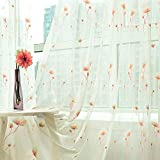 Aside Bside Rod Pocket Top Dandelion Floral Knitting Sheer Curtains Nature Style Transparent Window Decoration Child Room Houseroom Sitting Room (1 Panel, W 50 x L 63 inch, Pink)