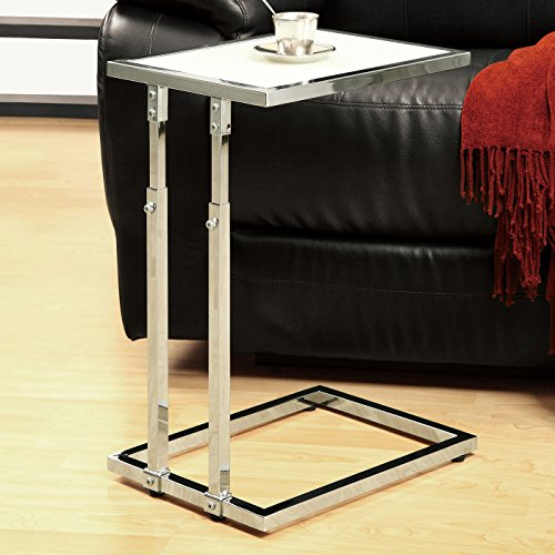 "Monarch Specialties I 3012, Accent Table Adjustable, Chrome base and Tempered Glass, 26""H"
