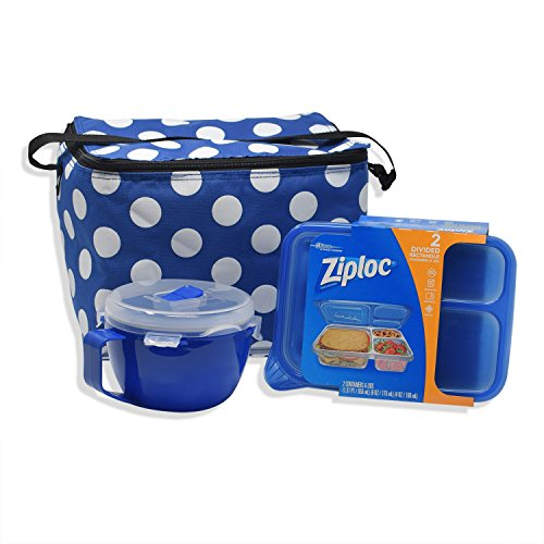 Lunch Bags for Women Lunchbox Bundle with Soup Mug and Ziploc Sandwich Container, 3 Items (Polka Dot/Access)