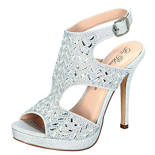Marna-46 Rhinestone Embellished High Heel Platform Dress Sandal For Wedding Prom Silver 7.5 A1la3B