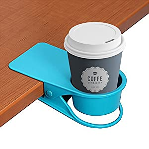 LOHOME Cup Holder, Coffee Water Soda Bottle Clip on Edage of The Table DIY Glass Clamp (Blue)