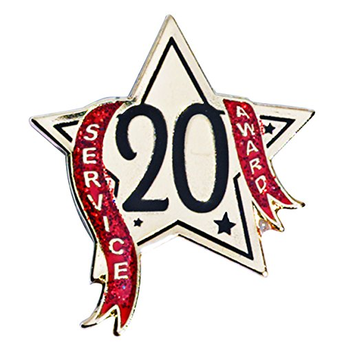 20 Year Service Star Award Lapel Pin with Red Glitter Ribbon, 1 Pin