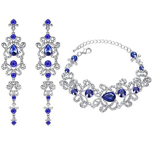mecresh Blue Teardrop Rhinestone Chandelier Earring and Tennis Bracelet Wedding Jewelry Set for Women Brides Bridesmaid