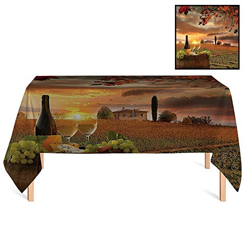SATVSHOP Rectangle Tablecloths /55x120 Rectangular,Winery White Wine with Barrel on Vineyard at Sunset in Chianti Tuscany Italy Landscape Orange Green.for Wedding/Banquet/Restaurant.