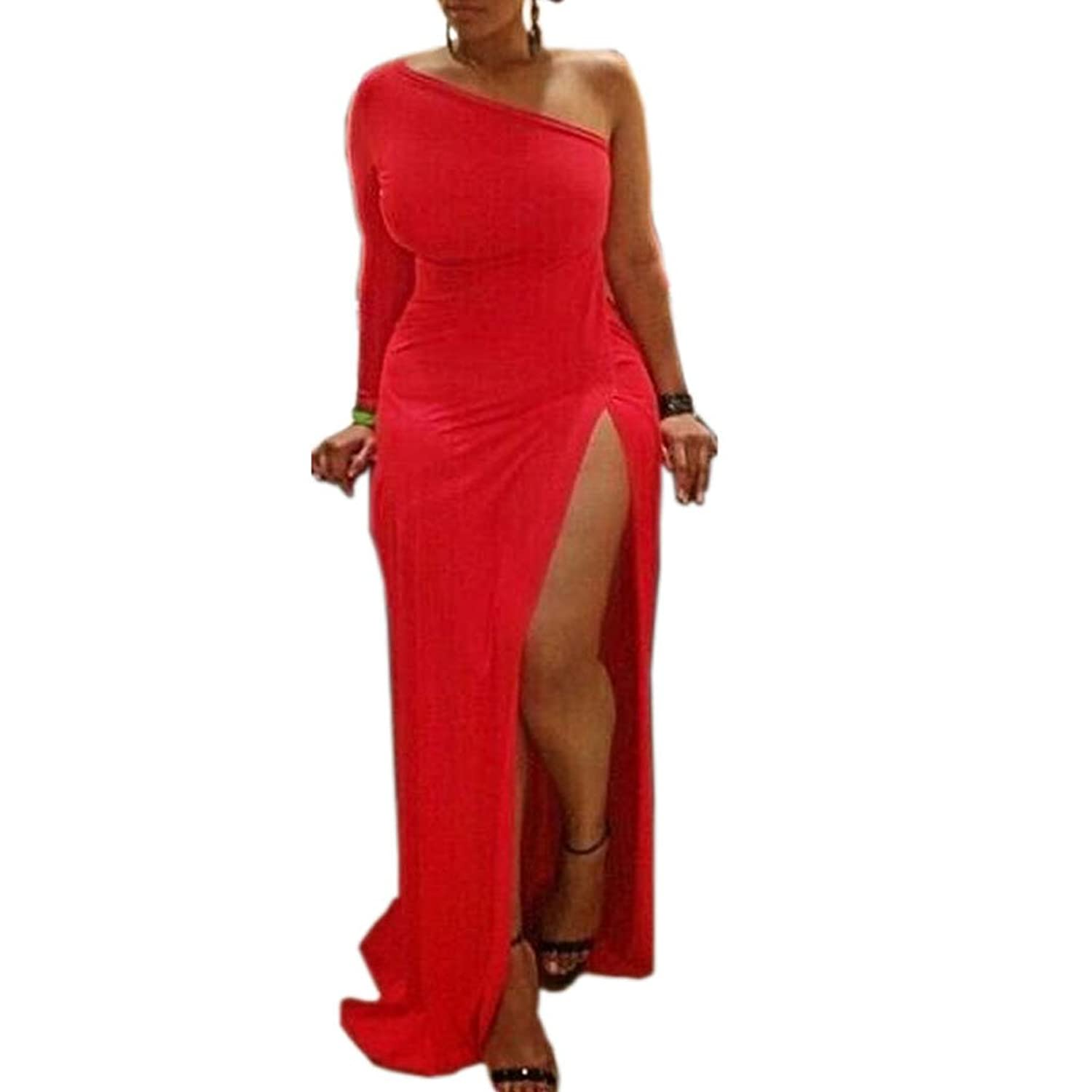 Womens Sexy Plus Size One shoulder Long Sleeve High Slits Maxi Dress