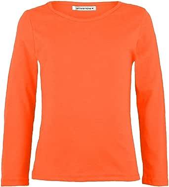 Janisramone - Camiseta básica infantil elástica en color liso, de manga larga y cuello redondo
