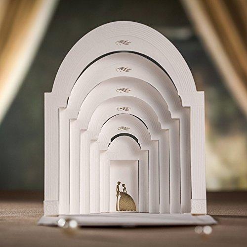 Lemo Home Designer laser Cut 3D Pop Upnella chiesa bianco matrimonio biglietti d' invito, comprende corrispondenza Envelop/inserire la scheda/Seal (1) Wishmade