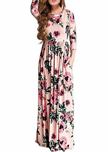 Wearlove Women's Floral Print Round Neck Sleeveless Long Maxi Casual Dress (Medium, pink3)