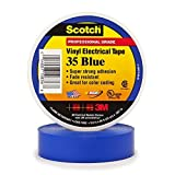 3M Scotch 35 Vinyl Color Coding Electrical Tape, 32 to 221 Degree F, 1250 mV Dielectric Strength, 66' Length x 3/4'' Width, Blue
