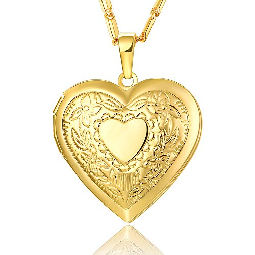 Reizteko Heart Charm Necklace Platinum/Rose Gold/Gold Plated Locket Pendant - with 22 Inches Chain (Gold)