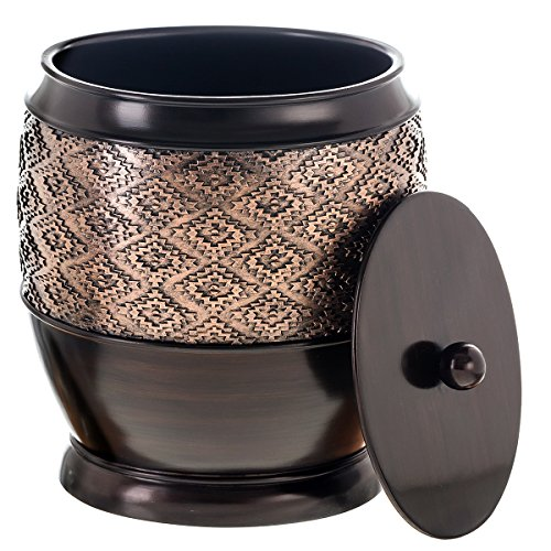 Bins Brown (Dublin Small Trash Can with Lid - Decorative Waste Basket, Durable Resin Slim Bathroom Covered Garbage Can Wastebasket Bin for Diaper/Paper (Brown))