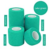 JaneDream Sports Waterproof Breathable Safety Adhesive Flexible Elastic Bandage First Aid Medical Health Care Gauze Protect Finger Wrist Ankle Knees Tape S 2.5cm Lake green