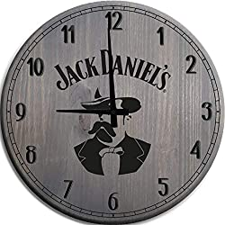 TBA Large Wall Clock Jack Daniel's Founders Mark Man Cave Wall Decor Barnwood Gray 18 inch Wall Decor