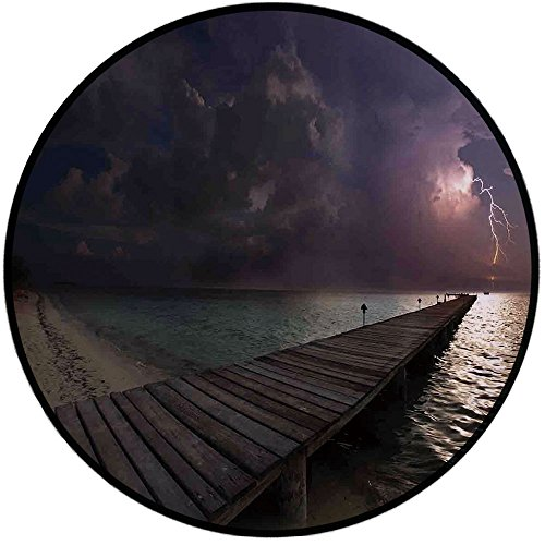 Printing Round Rug,Nature,Horizon with Electrical Storm in the Sky View from A Wooden Deck on the Exotic Beach Mat Non-Slip Soft Entrance Mat Door Floor Rug Area Rug For Chair Living Room,Multicolor ()