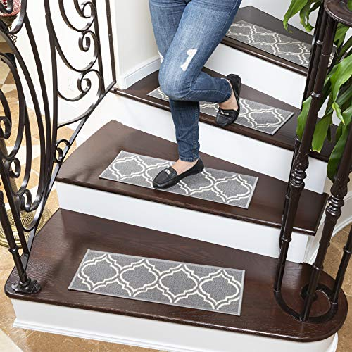 "Ottomanson Ottohome Collection Stair Tread, 8.5"" x 26"", Gray Moroccan Trellis"