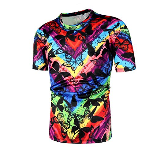 (Short Sleeve Shirts for Men, Mmnote Colorful Striped Texture Butterfly Print Moisture Wicking Performance)