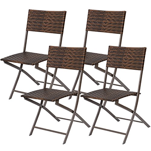 Flamaker Folding Patio Chairs PE Wicker Rattan Chair 4 Pieces Patio Furniture Set