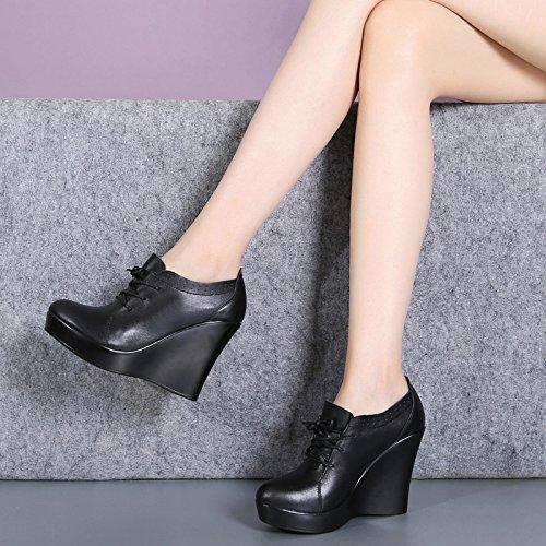 GTVERNH-China Scarpe Con Tacchi Le Scarpe Da Lavoro Cravatta Nera Testa Rotonda Spesso Sotto Le Donne Scarpe A Tacco Alto Piattaforma 10.5Cm Scarpe Trentaquattro