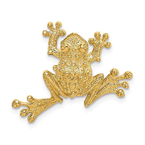 14k Yellow Gold Solid Polished Open-Backed Frog Slide (Backed Fancy Heart Pendant)