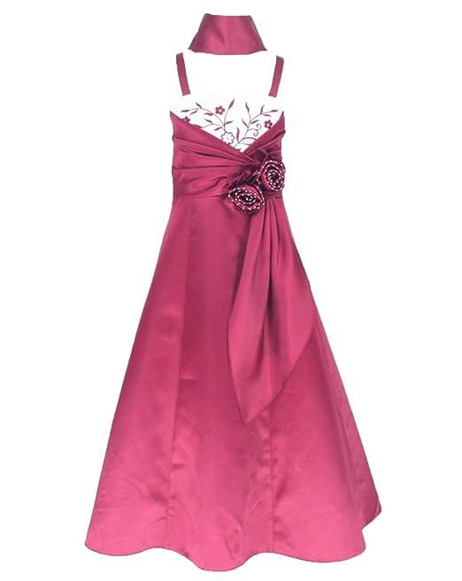 Sin Mangas Vestido satén Vestido de Fiesta para niña Vestido de Madrina Vestido de ahijada para