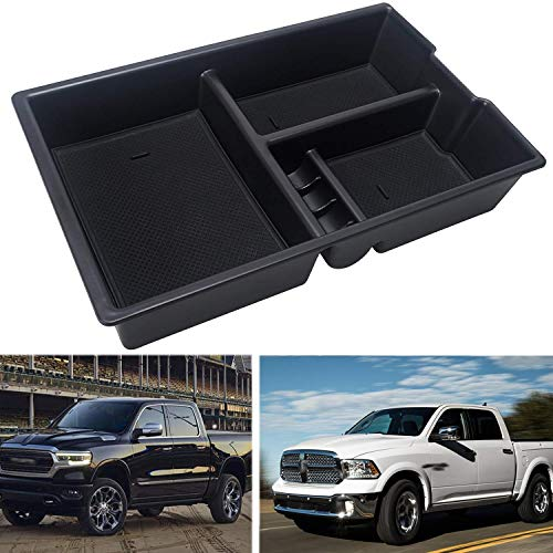 Car Center Console tray Organizer Insert Armrest secondary Storage Box for 2009-2018 Dodge RAM 1500 2500 3500(Full Console w/Bucket Seats ONLY)