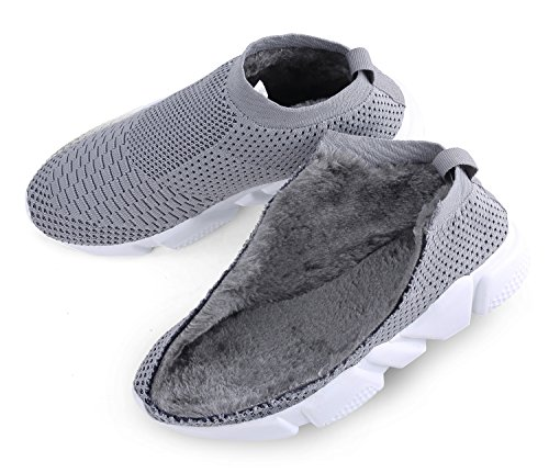 Men's Casual Knitted Breathable Winter Warm Cotton-Padded Shoes Lightweight Loafers Fashion Sneakers Walking Shoes,Grey,7 D(M) US by WOOSEN (Image #5)