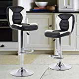 THKSBOUGHT Set of 2 Modern Bar Stools PU leather Adjustable Counter Height Swivel Stool (Back)