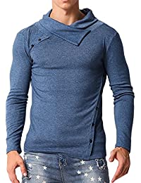 Men's Turtleneck Shirts Slim Fit Thermal Sweater Pullover Button Collar T Shirt Tops