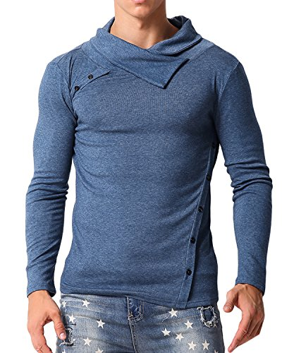 MODCHOK Mens Casual T Shirt Slim Fit Turtleneck Shirts Pullover Button Collar Sweaters Tops