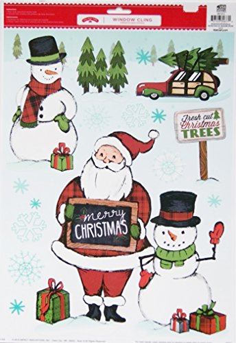 11.75' Art Print Poster (Holiday Style Christmas Window Clings - Santa Claus and Snowmen)
