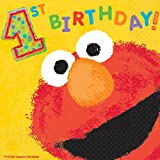 Amscan Elmo's 1st Birthday Luncheon Napkins Party Supplies, Small, Yellow
