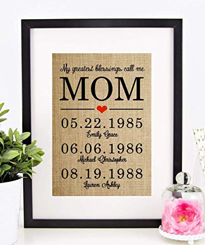 Personalized Christmas Gifts for Mom, Mother Daughter Gifts, Birthday, Anniversary: My Greatest Blessings Call Me MOM, Burlap Print -