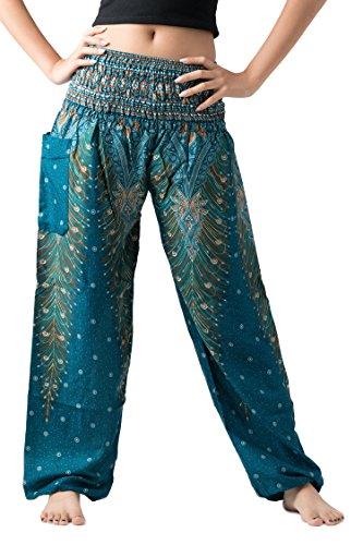 BANGKOK PANTS Women's Boho Harem Pants Hippie Clothes Yoga Outfits Bohemian Peacock Design One Size Fits (Green Peacock)
