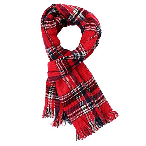 UTOVME Women Double Side Multicolor Plaid Blanket Tartan Striped Tassel Cashmere Feel Scarf Cape Shawl Red One size