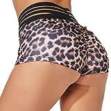 YOFIT Women Push Up Yoga Shorts Ruched Butt Leopard Print High Waist Shorts Butt Lifting Hot Pants Leopard XL