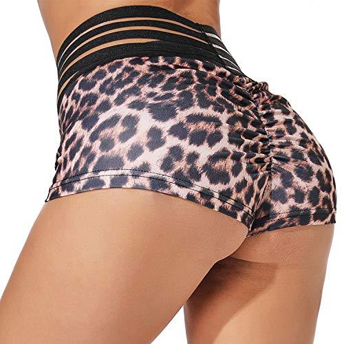 YOFIT Women Push Up Yoga Shorts Ruched Butt Leopard Print High Waist Shorts Butt Lifting Hot Pants Leopard L (Leopard Print Hot Pants)